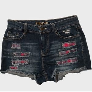 Hippie Laundry distressed patchwork denim shorts